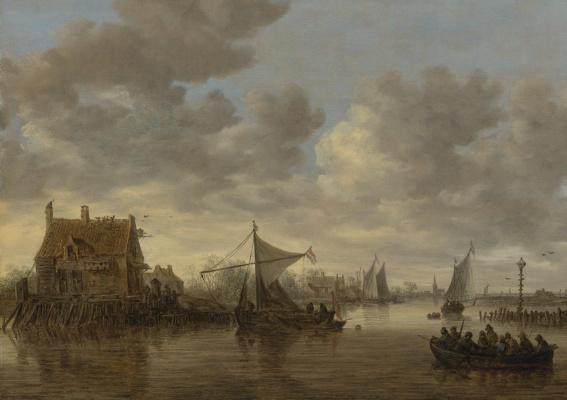 Ян ван Гойен. Паром и лодки вблизи старого дома