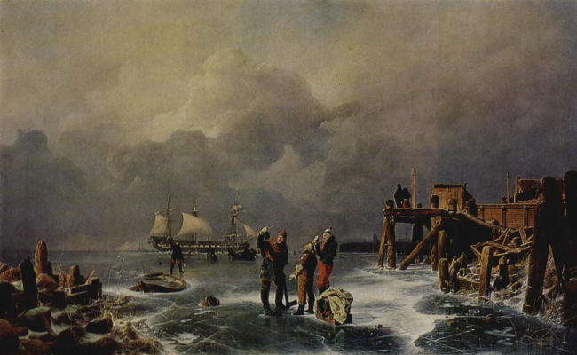 Andreas Achenbach. Shore of a frozen sea