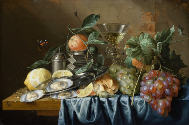 Jan Davids de Hem. Still life with oysters and grapes