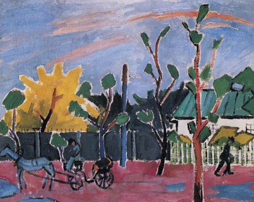 Mikhail Larionov. Sunset after rain