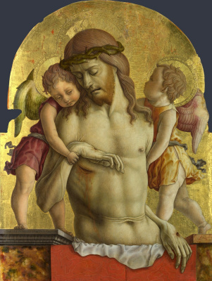 Carlo Crivelli. Christ supported by two angels. The altar polyptych of the church of San Francesco in Montefiore del Asso, pommel of the central part