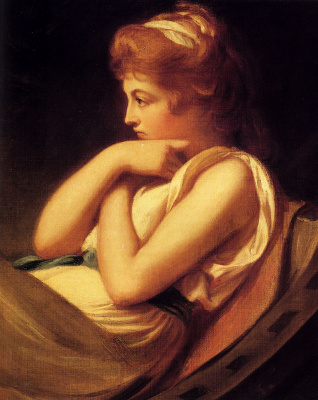 George Romney. Serena in contemplation. Portrait of Emma Hamilton in Thought