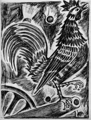 "Natalia Goncharova. French cock. From the series ""Mystical images of war""."
