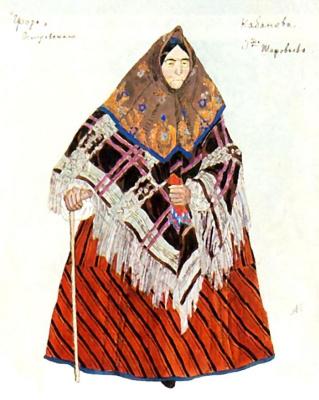 "Alexander Yakovlevich Golovin. Kabanova. Costume design for the drama A. N. Ostrovsky ""Thunderstorm"""