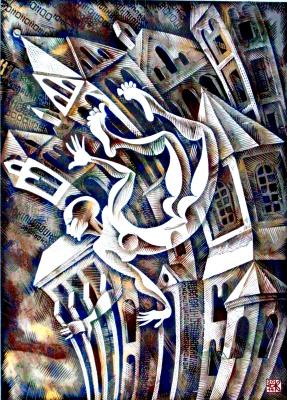 "Vladimir Kataev. ""Adaptation -2"", linocut, 72 X 50 cm, 2014"