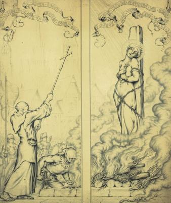 Николай Константинович Калмаков. Эскиз для незаверш диптиха Жанна д'Арк на костре. 1931.золотая краска