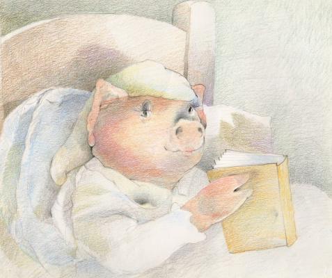 Дэвид Йоргенсен. Свинья в кровати с книгой