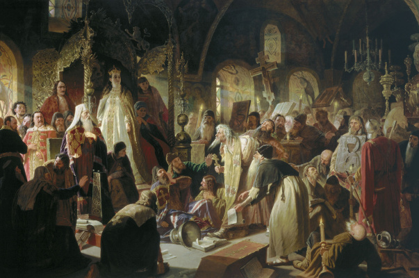 Vasily Grigorievich Perov. Nikita Pustosvyat. The dispute about faith