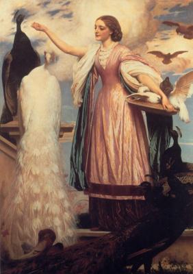 Frederic Leighton. Girl feeding peacocks