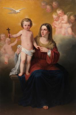 Антонио Мария Эскивель. Дева Мария с младенцем Христом, Святым Духом и ангелами на заднем плане