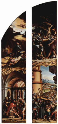 Hans Holbein The Younger. Prayer on the Mount of Olives, Christ in the Garden of Gethsemane, Coronation with a crown of thorns, Christ carrying the cross. Passion of Christ. Left-hand side