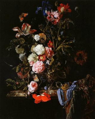 Виллем ван Алст. Ваза с цветами, часами и бабочкой