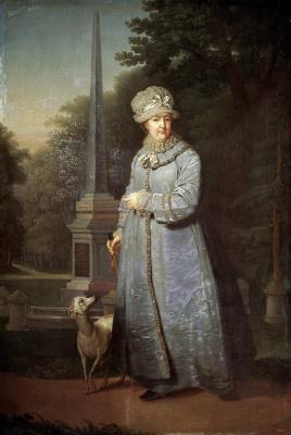 Владимир Лукич Боровиковский. Екатерина II на прогулке на фоне Кагульского (Румянцевского) обелиска
