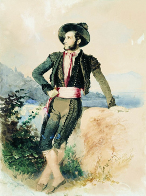 Vasily Ivanovich Sternberg. Ivan Aivazovsky in the Italian suit