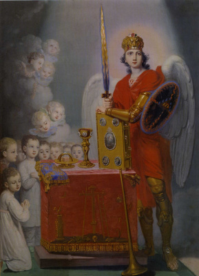 Vladimir Lukich Borovikovsky. Children at the throne, protected by Archangel Michael