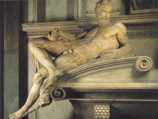 Микеланджело Буонарроти. Гробница Лоренцо Медичи. Фрагмент. Вечер.