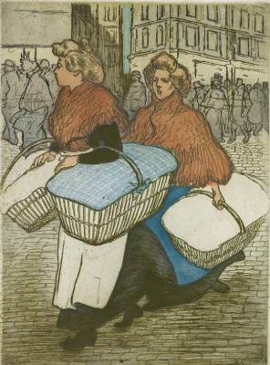 Theophile-Alexander Steinlen. Washerwoman, returning from work