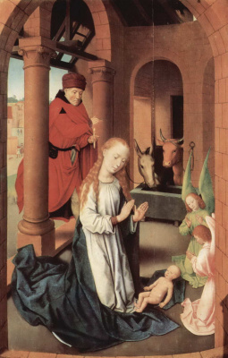 Hans Memling. The Birth Of Christ. Triptych the adoration of the Magi. The left panel