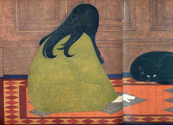 Will Barnet. Girl playing with a cat