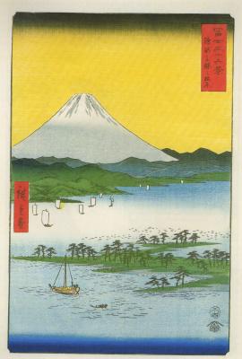 Utagawa Hiroshige. The pine forest of Miho in Suruga province and Fuji