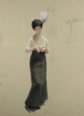 Теофиль-Александр Стейнлен. Молодая женщина в шляпке с пером