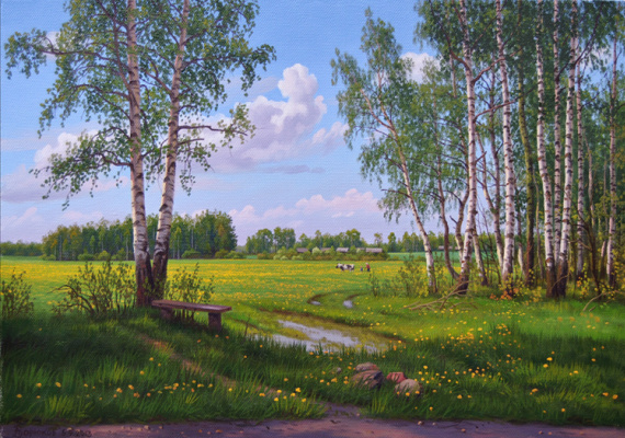 Alexander Vasilyevich Zoryukov. May. Birch Dandelions are blooming.