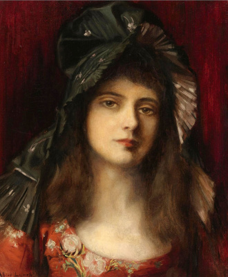 Albert Lynch 1851-1912 Peruvian artist. Green bonnet.