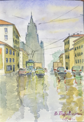 Viacheslav Leonidovich. Moscow after the May rain 210x150, watercolor.
