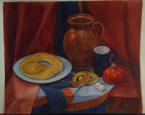 Lyudmila Kachur. Still life in red and blue tones