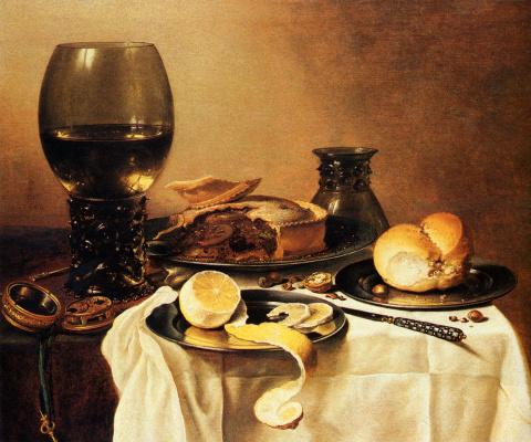Питер Клас. Натюрморт с мясным пирогом, лимоном и хлебом