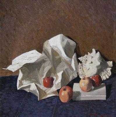 Ekaterina Anatolyevna Kudryavtseva. Still life. After Apple Spasa 70x70 oil on canvas, 2014