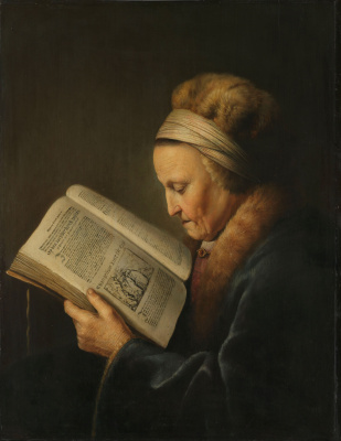 Gerrit (Gerard) Dow. An old woman with a book (Mother Rembrandt)