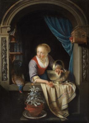 Геррит (Герард) Доу. Женщина в окне с фазаном и медной чашей с яблоками