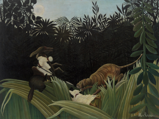 Henri Rousseau. Riders, attacked by a tiger
