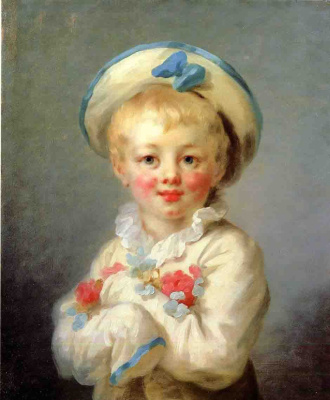 Jean Honore Fragonard. Portrait of a boy in the character of Pierrot
