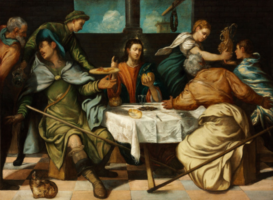 Jacopo (Robusti) Tintoretto. Dinner at Emmaus