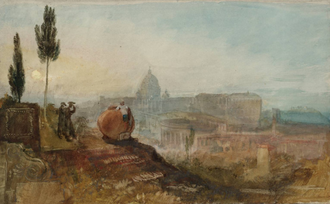 Joseph Mallord William Turner. The Cathedral of St. Peter and the Vatican from the gardens of the Villa Barberini, Rome