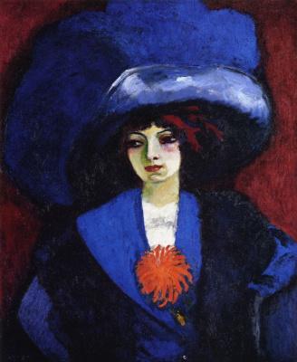 Kees Van Dongen. Lady in blue hat