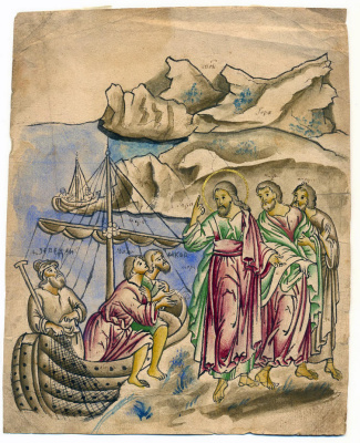 Icon Painting. Christ's Calling of the Apostles Peter, Andrew, John, and James. Icon pattern