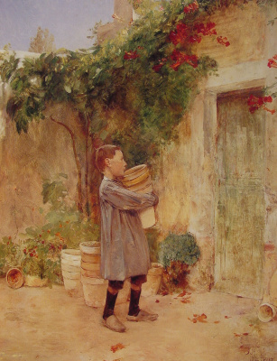 Childe Hassam. Boy with flower pots