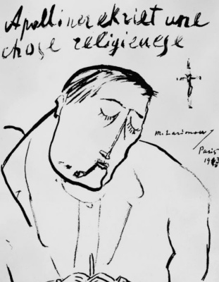 Mikhail Larionov. Apollinaire writes a religious thing