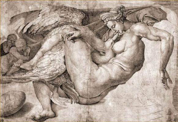 Микеланджело Буонарроти. Гравюра с уничтоженной картины «Леда и лебедь»