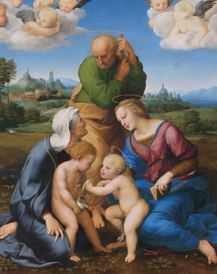 Raphael Sanzio. Holy family, Canigiani (the Holy family with STS Elizabeth and John the Baptist or Madonna, Canigiani)