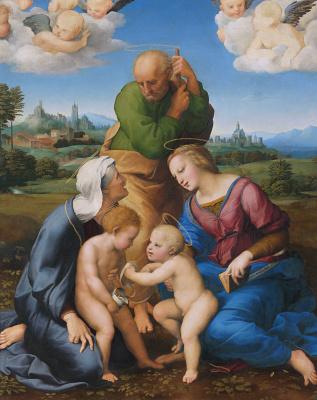 Raphael Sanzio. Holy family, Canigiani (the Holy family with STS Elizabeth and John the Baptist or Madonna, Canigiani)