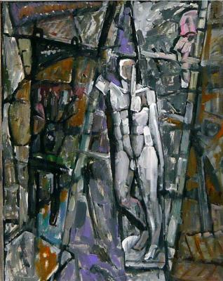 Ekaterina Konstantinovna Krestyaninova. Still life with a white statue. Canvas 70x80.