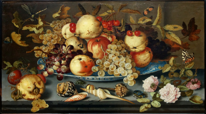 Baltazar van der Ast. Still life with dish of fruit, flowers and shells