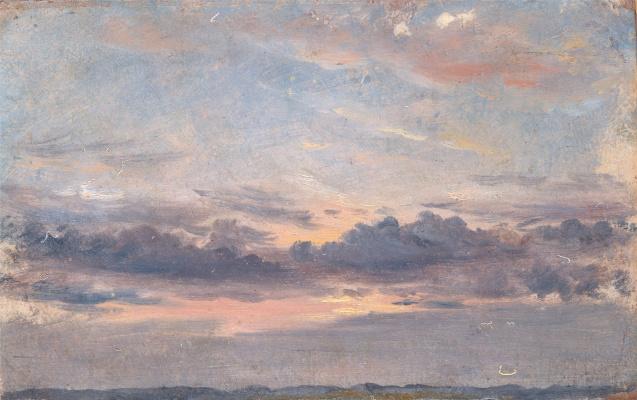 Джон Констебл. Облачное небо. Закат. Эскиз