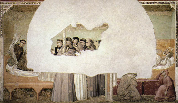 Giotto di Bondone. The vision of the ascension of St. Francis. Scenes from the life of St. Francis