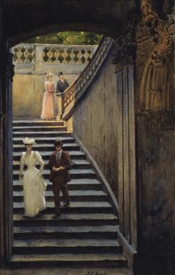 Alexey Danilovich Kivshenko Russia 1851-1895. Staircase in the Zwinger.