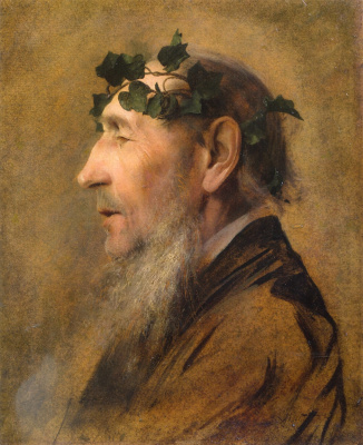 "An elderly man wearing a wreath of ivy (Study for ""pan comforting psyche"")"